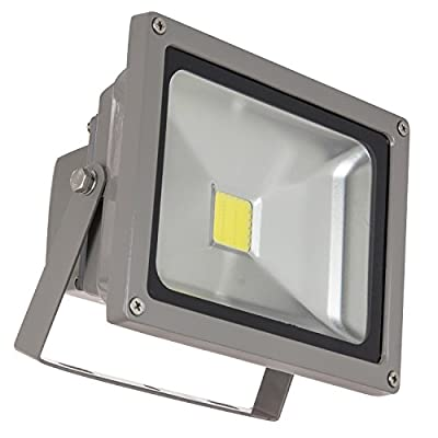 Sunlite LEDF/20W/W LED Security Floodlight HPS HID Replacement Wall Mounted Fixture Outdoor, White 5000K Gray Finish