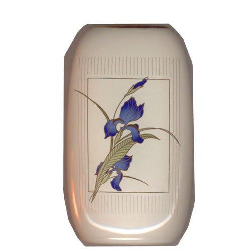 Vintage Otagiri Vase Grand Iris 24K Gold Blue Iris Japan