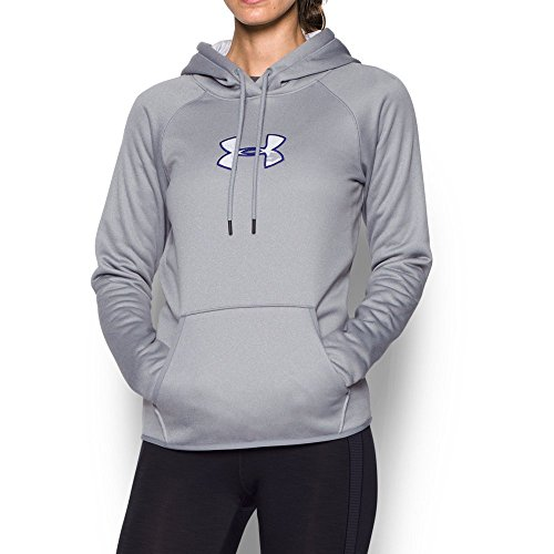 Under Armour Women's Icon Caliber Hoodie, True Gray Heather/Grape Fusion, Large