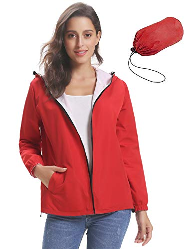 Impermeabili Doppio Abollria Tasche Giacche Antipioggia Lampo Donna Lato E Casual Giacca A Per indossabile Cappotto Vento Ragazza Rosso Comode Cappuccio Chiusura Con prpRq5w