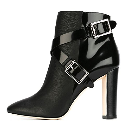 Blockabsatz Black Runde Damen Heels 071802 KJJDE TLJ Stiefel Stiefel Party Zehe Ledernaht High Pumps 36 fUqnnvHw