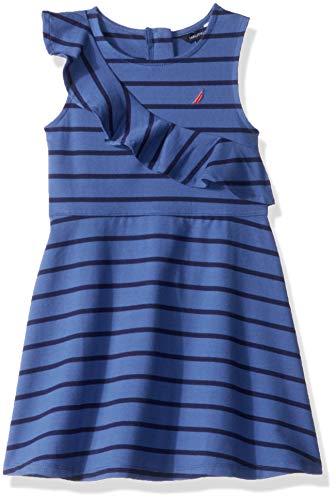 Stripe Jersey Ruffle Dress - Nautica Girls' Toddler' Patterned Sleeveless Dress, Dark Blue Ruffles, 4T