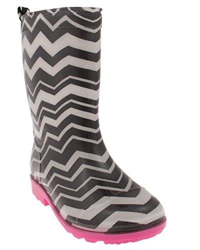 Shiny Black Stripe - Capelli New York Girls Shiny Chevron Stripes Printed Jelly Rain Boot Black Combo 1/2