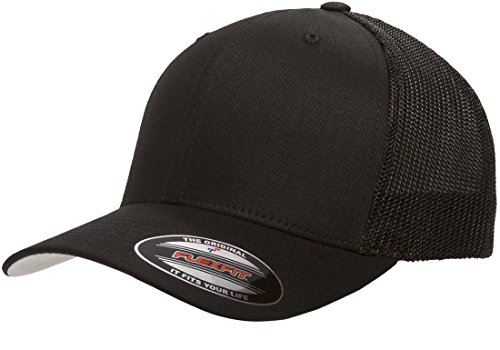 (Flexfit Unisex-Adult's Stretch Mesh Fitted Cap, Black, One Size)