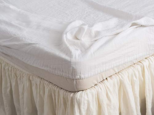 (Fitted Sheet 100% Pure and Simple Flax European Linen Sheet Comfort Collection )