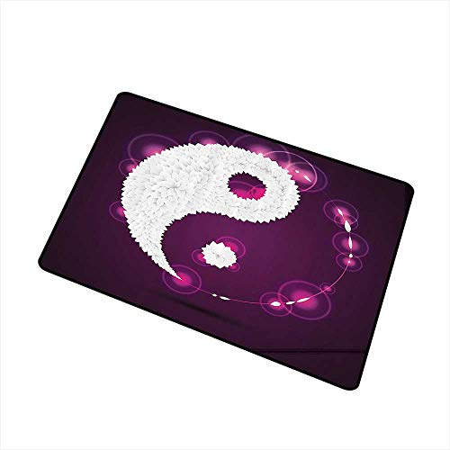 Mdxizc Interesting Doormat Ying Yang Decor Collection Digital Art Origami Leaves Petals and Aura Lights Graphic Ying Yang Cosmos Theme Art W30 xL39 Indoor Outdoor, Waterproof, Easy Clean Purple White
