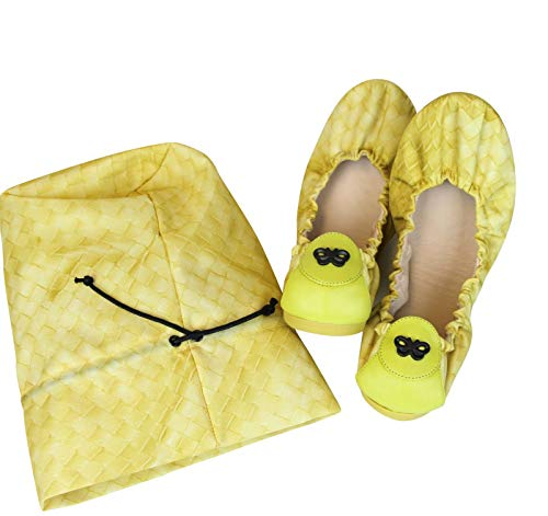Bottega Veneta Yellow Nylon Intrecclolusion Ballerina Ballet Flat 307913 (37 EU / 7 US)