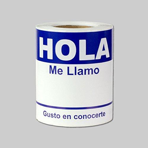 Adult Hello Im Name Tag - 2-5/16 x 4 Pulgadas Hola me Llamo Etiquetas Adhesivas (100 Por Rollo, Azul Orcuro)