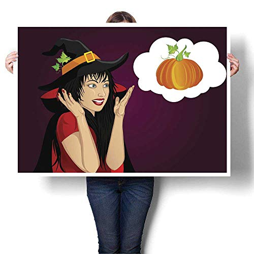 Abstract painting Halloween Beautiful woman in hat and witch costume is surprised and shows hands wow Vector Thinking bubble with pumpkin inside G Decorative Fine Art canvas Print Poster K 20