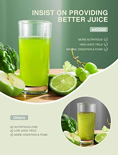 Juicer Machines, Cold Press Masticating Juicer with Quiet Motor, Easy to Clean with Brush, Higher Juice Yield, Reverse Function & Recipes for Vegetables and Fruits Included
