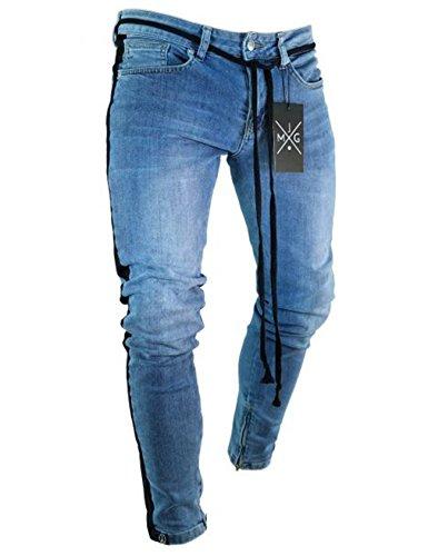 Bestgift Men's Stretch Side Stripe Washed Jeans XS Dark Blue by Bestgift