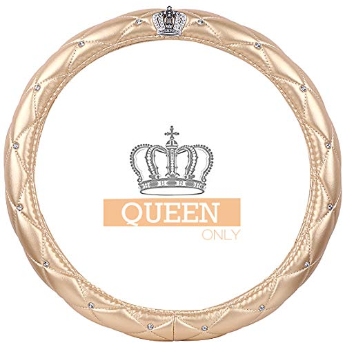 Ladies Car Steering Wheel Cover with Diamond Lattice Girly Classy Fashion Collection Car Steering Wheel Cover with Crown and Diamonds (Queen ONLY) (A - Gold)