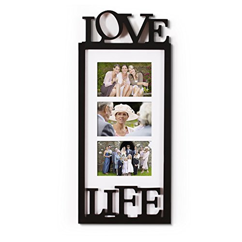 Adeco Decorative Black White Wood ''Love Life'' Themed Fa...