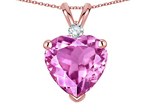 Star K 8mm Created Pink Sapphire Heart Pendant Necklace 14k Rose Gold