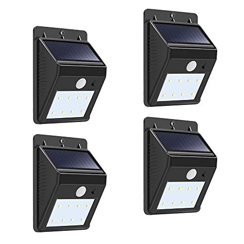 Binval 8 LED Motion Sensor Security Wall Light,Solar Powered,Sutiable for Outdoor, Patio, Deck, Yard, Garden, Fence, Driveaway, (4-Pack)