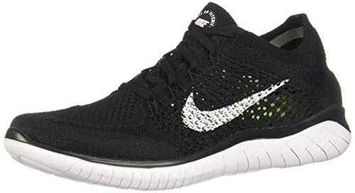 Nike Men's Free Rn Flyknit 2018 Black/White Running Shoe 10.5 Men US (Shoes Sb Free Nike)