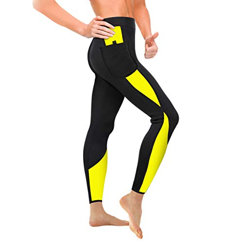 Fat Pockets - Wonderience Women Sauna Weight Loss Slimming Neoprene Pants with Side Pocket Hot Thermo Fat Burning Sweat Leggings (Black-Yellow, 3XL)