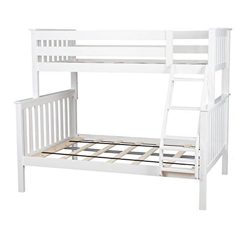 Max & Lily Solid Wood Twin over Full Bunk Bed, White by Max & Lily