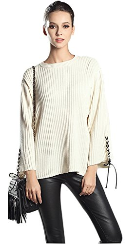 Gihuo Women's Casual O Neck Long Bell Sleeve Ribbed Knitted Pullover Sweater (One Size, White)