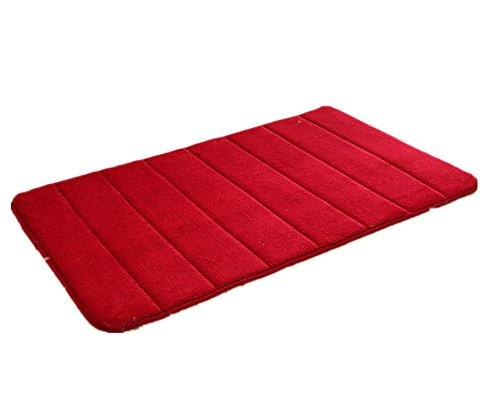 Komanic Memory Foam Coral Fleece Fabric Hotel Spa Bath Room Rugs, Red (Berber Hearth Rug)