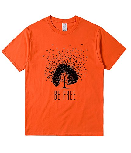 QMT Be Free T Shirt For Mens S Orange