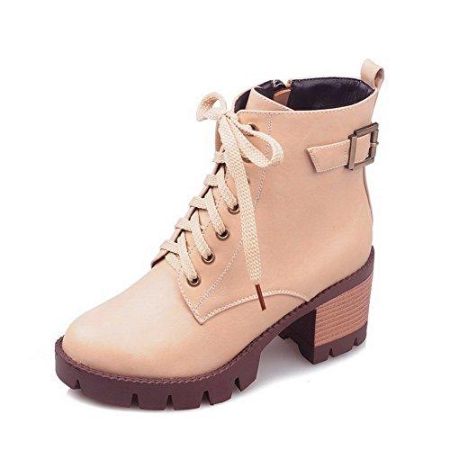 Toe Round PU Women's Low Heels Kitten Apricot Boots Zipper Closed Allhqfashion Top EUIaqSww