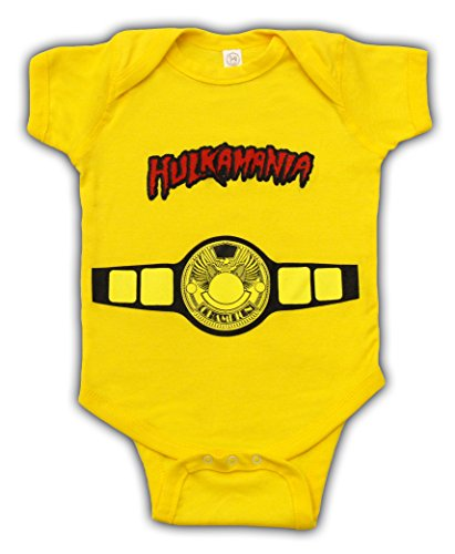 Hulkamania World Champ Costume Yellow Snapsuit Infant Onesie Baby Romper (12 Months)