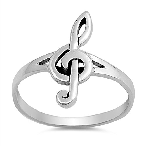 Oxidized Music Note Ring New .925 Sterling Silver Treble Clef Band Size 8