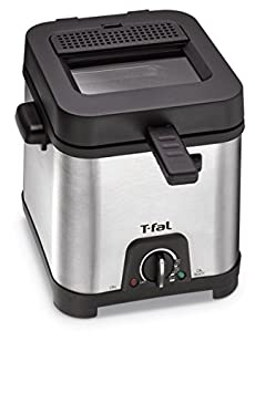 T-fal FF492D Stainless Steel 1.2-Liter Oil Capacity Adjustable Temperature Mini Deep Fryer with Removable Lid 0.66-Pound Silver Groupe SEB 8000035819