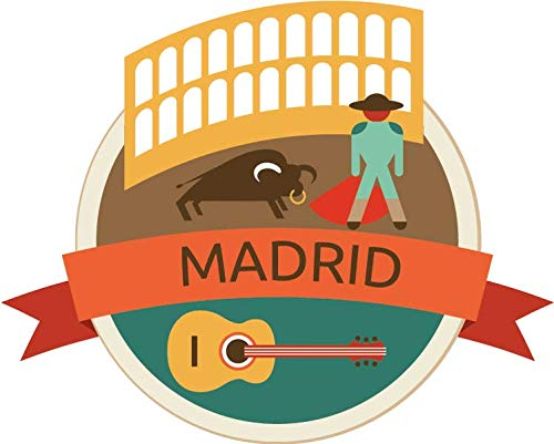 JJH Inc Madrid Spain World City Travel Label Badge Vinyl Decal Sticker Waterproof Car Decal Bumper Sticker - Madrid Badge Real