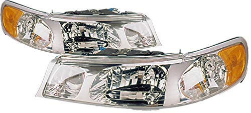 (For 1998 1999 2000 2001 2002 Lincoln Town Car Headlight Headlamp Assembly Driver Left and Passenger Right Side Pair Set Replacement FO2502158 FO2503158)