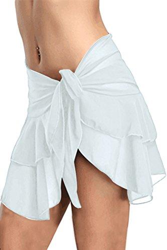 Bdcoco Women's Swimwear Chiffon Cover Up Ruffl Skirt Beach Sarong Swimsuit Wrap White L (Skirt Swim Suit Cover)