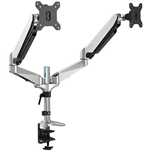 Premium Aluminum Dual Monitor Stand, Full Motion Articulating Gas Spring Vesa Mount Stand with Heavy Duty Clamp Base, Hold Up to 27