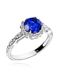 GemsChest Sterling Silver 2 Ct Round Shaped Created Blue Sapphire & Cubic Zirconia Halo Ring