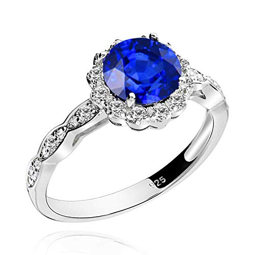 - Bridal Wedding Created Blue Sapphire Engagement Diana Ring Halo Gemstone Ring 925 Sterling Silver Sz 6