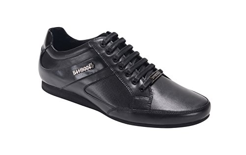 Bambooa Men's Trento Designer Low Black Leather Smart Casual Shoes Trainers