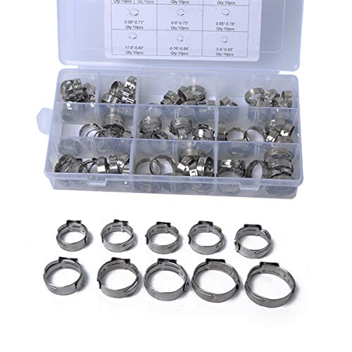 Usfenghezhan Stainless Steel Clamp 100pcs 12.5-23.5mm Single Ear Plus Stainless Steel Hydraulic Hose Clamps O-Clips Pipe Fuel Air by Shengjuanfeng (Image #6)