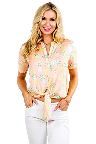 Women's Coral Piña Colada Hawaiian Shirt - Pineapple Button Down Aloha Shirt
