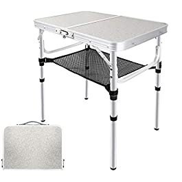 EXCELFU Folding Camping Table with Storage, Height Adjustable Portable Foldable Aluminum Camp Table, Lightweight Small…