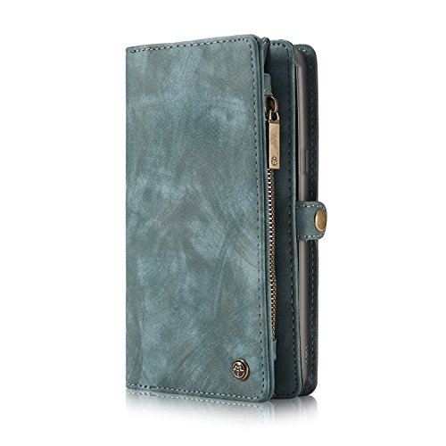 KONKY Caseme Samsung Galaxy S8 Wallet Case, Magnetic Detachable Removable Phone Cover Pouch Folio Durable Leather Purse Flip Card Pockets Holder Bag Smooth Zipper - Blue