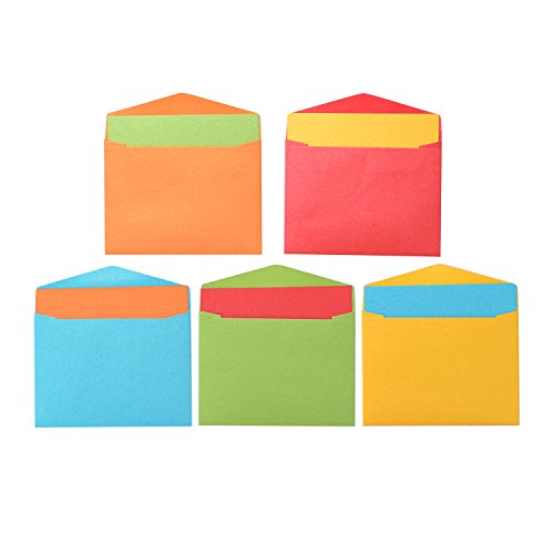 Premium Mini Flat Blank Gift Cards (2 9/16 x 3 9/16) with Envelopes (2 11/16 x 3 11/16) Co-ord Set – 50 ct Each Assorted Colors Vintage Italian Pearlescent Paper (Girl Flat Note)