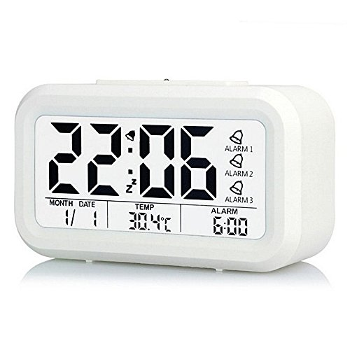 Chi Clock (Ieasycan Digital Alarm Clock Low Light Sensor Technology snooze and Large Display and Smart Night Light(Blue Backlight) Lcd For)
