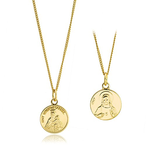 CISHOP Maryam Round Disc Pendant Necklace 18K Gold Plating Sterling Silver Collected Coin Necklace (Coin Gold Memorial)