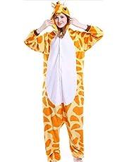 Winter Pyjamas Unisex Animal pajamas one piece Flannel Cartoon Adult Giraffe Pajamas-S