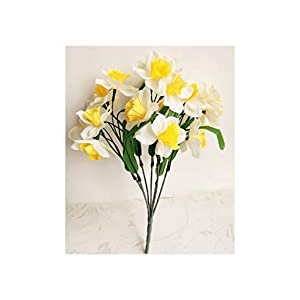 Heat-Tracing-Artificial flower one piece Artificial Narcissus Flowers Daffodils 7 stems for Home Decoration,Milky White 55