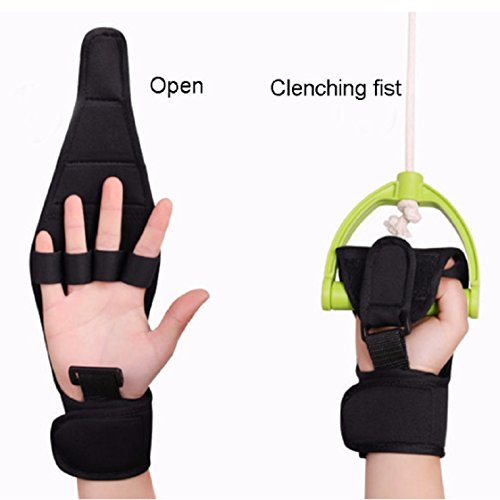 Jinon Finger Splint Brace ability,Finger Anti-Spasticity Rehabilitation Auxiliary Training Gloves For Stroke Hemiplegia Patient And Athlete Finger Rehabilitation [Single Hand Universal] (Black) by Jinon