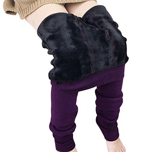 Warm Winter Tights (Tulucky Girls Tight Pants Winter Warm Fleece Lined Elastic Teens Leggings (Purple, M(height 43