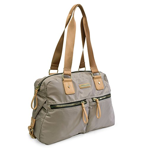Handbag Pockets Adrienne TAUPE With Vittadini Organizer front PU Zip Interior and Two xqgwaUCq