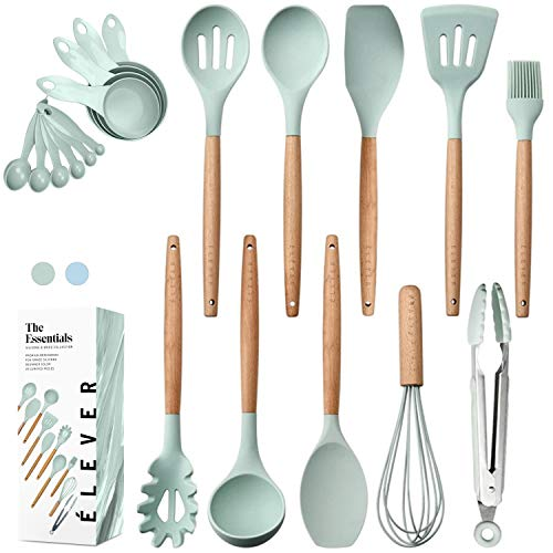 Kitchen Utensils Set - 20 Silicone Cooking Utensils for Non-stick Cookware. Wood Kitchen Utensils. Silicone Spatula Wooden Spoons Set Tongs. Best Chef Kitchen Gadgets Tool Set Gifts - ÉLEVER