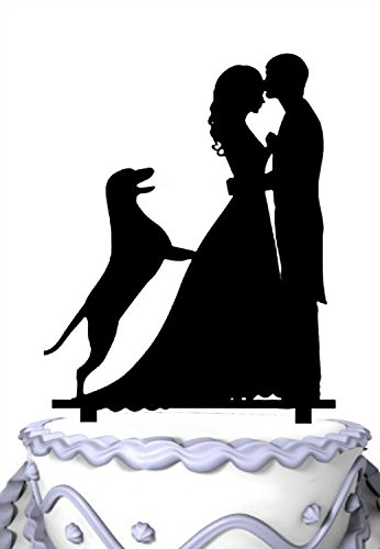 Meijiafei Rustic Family Wedding with German Shepherd Dog Bride and Groom Silhouette Cake Topper